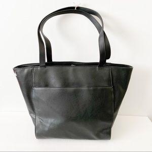 NWOT Black faux leather medium tote